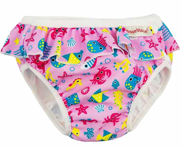 Badewindel Babybadehose Pink Daisy mit Rü Imse Vimse Schwimmwindel Aquawindel
